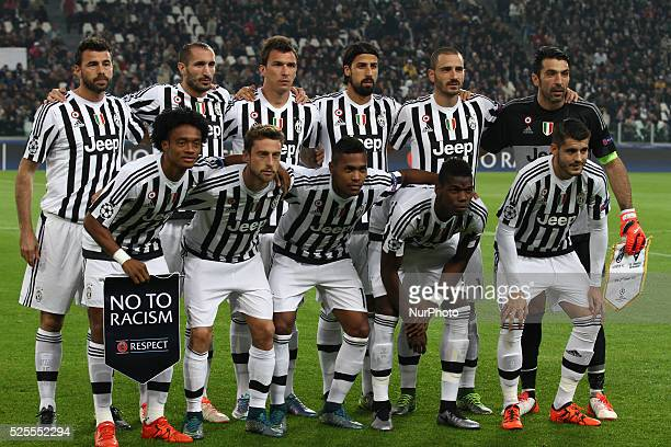 Juventus Team poses in order to be photographed before the Uefa Champions League group stage football match n3 Juventus Borussia Monchengladbachon...