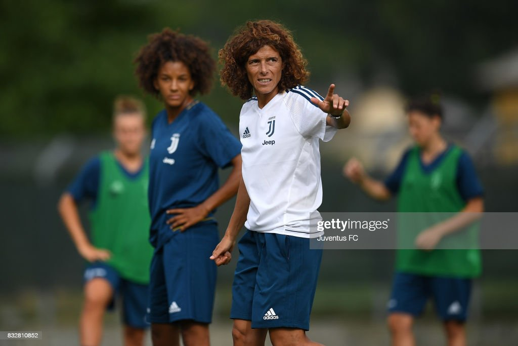 Juventus Women head coach Rita Guarino gestures during a training session on August 16, 2017 in Aymavilles near Aosta, Italy.