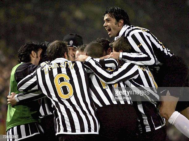 Juventus' Zalayeta celebrates the only goal of the Serie B match between Juventus and Bologna December 19 2006 in Bologna Italy The accident happened...
