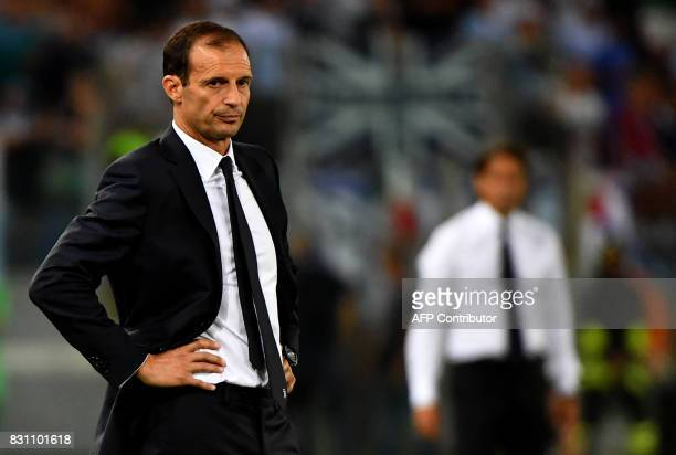 Juventus's coach Massimiliano Allegri looks on during the Italian SuperCup TIM football match Juventus vs lazio on August 13 2017 at the Olympic...