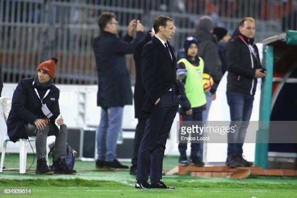 Juventus's coach Massimiliano Allegri looks on during the Serie A match between Cagliari Calcio and Juventus FC at Stadio Sant'Elia on February 12...