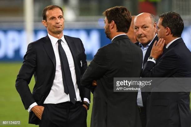 Juventus's coach Massimiliano Allegri reacts at the end of the Italian SuperCup TIM football match Juventus vs lazio on August 13 2017 at the Olympic...