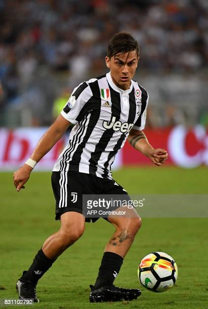 Juventus's forward from Argentina Paulo Dybala controls the ball during the Italian SuperCup TIM football match Juventus vs lazio on August 13 2017...