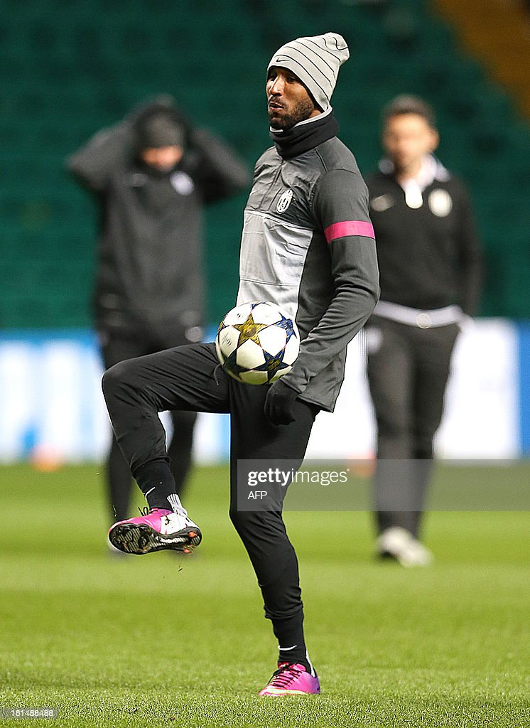 Juventus's French forward Nicolas Anelka attends a training session at Celtic Park in Glasgow, Scotland, on February 11, 2013, ahead of the team's UEFA Champions League last sixteen football match against Celtic on February 12.