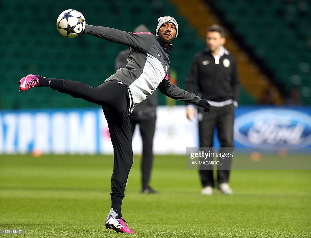 Juventus's French forward Nicolas Anelka controls the ball during a training session at Celtic Park in Glasgow, Scotland, on February 11, 2013, ahead of the team's UEFA Champions League last sixteen football match against Celtic on February 12.