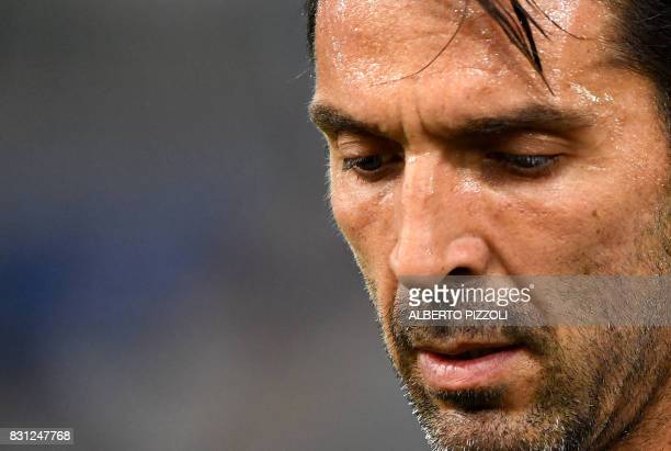 Juventus's goalkeeper Gianluigi Buffon reacts during the Italian SuperCup TIM football match Juventus vs lazio on August 13 2017 at the Olympic...