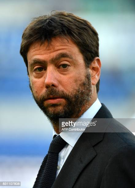 Juventus's president Andrea Agneli looks on during the Italian SuperCup TIM football match Juventus vs lazio on August 13 2017 at the Olympic stadium...