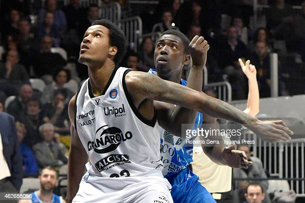 Juvonte Reddic of Granarolo competes with Cheikh Mbodj of Banco di Sardegna during the LegaBasket of Serie A match between Virtus Granarolo Bologna...