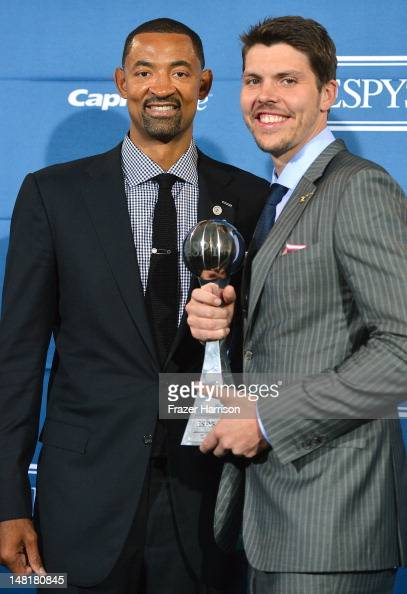 Juwan Howard and Mike Miller of the Miami Heat with award for Best Team posing in the press room during the 2012 ESPY Awards at Nokia Theatre LA Live...
