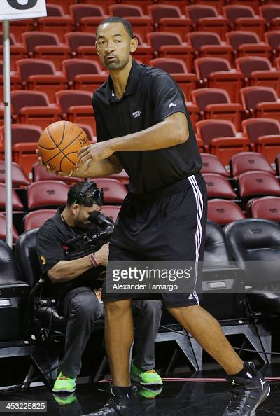 Juwan Howard is seen interacting with participants at the American Airlines Arena where Hublot hosted a basketball fantasy camp for special guests on...