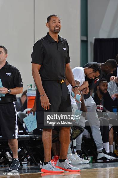 Juwan Howard of the Miami Heat coaches against the Detroit Pistons during Orlando Summer League on July 6 2015 at Amway Center in Orlando Florida...