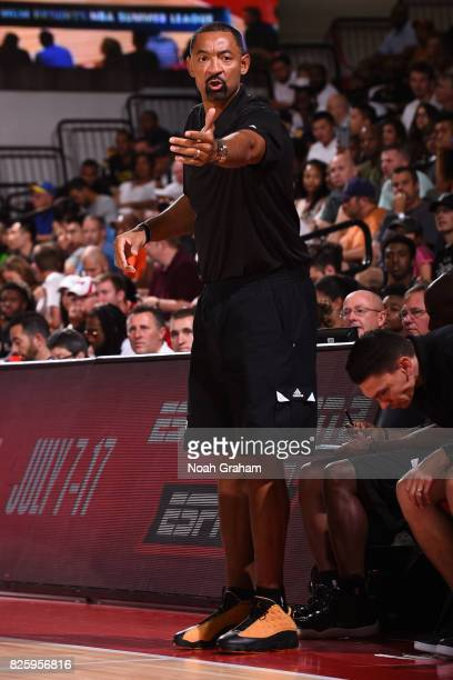 Juwan Howard of the Miami Heat coaches during the 2017 Las Vegas Summer League game against the Dallas Mavericks on July 11 2017 at Cox Pavillion in...