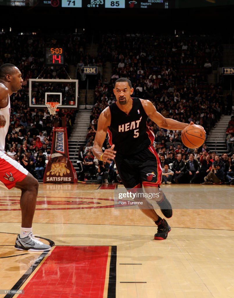 <a gi-track='captionPersonalityLinkClicked' href=/galleries/search?phrase=Juwan+Howard&family=editorial&specificpeople=201642 ng-click='$event.stopPropagation()'>Juwan Howard</a> #5 of the Miami Heat in action against the Toronto Raptors during a game on April 13, 2011 at the Air Canada Centre in Toronto, Ontario, Canada.