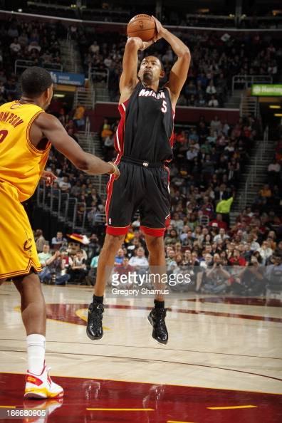 Juwan Howard of the Miami Heat takes a shot against the Cleveland Cavaliers at The Quicken Loans Arena on April 15 2013 in Cleveland Ohio NOTE TO...