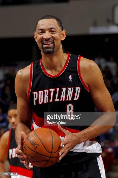 Juwan Howard of the Portland Trail Blazers shoots a free throw against the Sacramento Kings on March 12 2010 at ARCO Arena in Sacramento California...