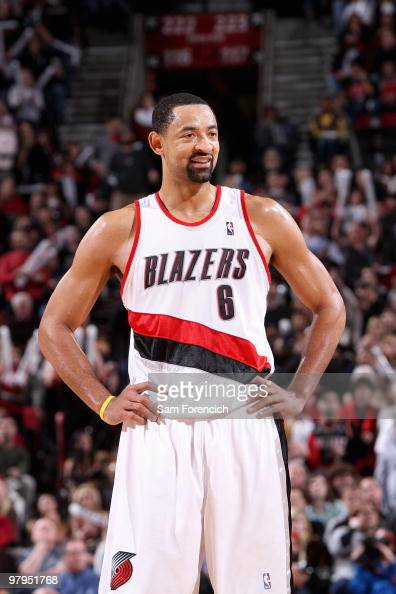 Juwan Howard of the Portland Trail Blazers smiles during the game against the New Orleans Hornets on January 25 2010 at the Rose Garden in Portland...