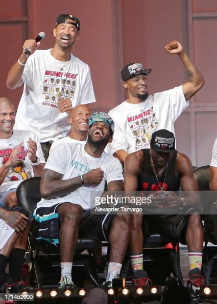 Juwan Howard Rashard Lewis Ray Allen LeBron James and Dwyane Wade of the Miami Heat attend the NBA Championship victory rally at the AmericanAirlines...
