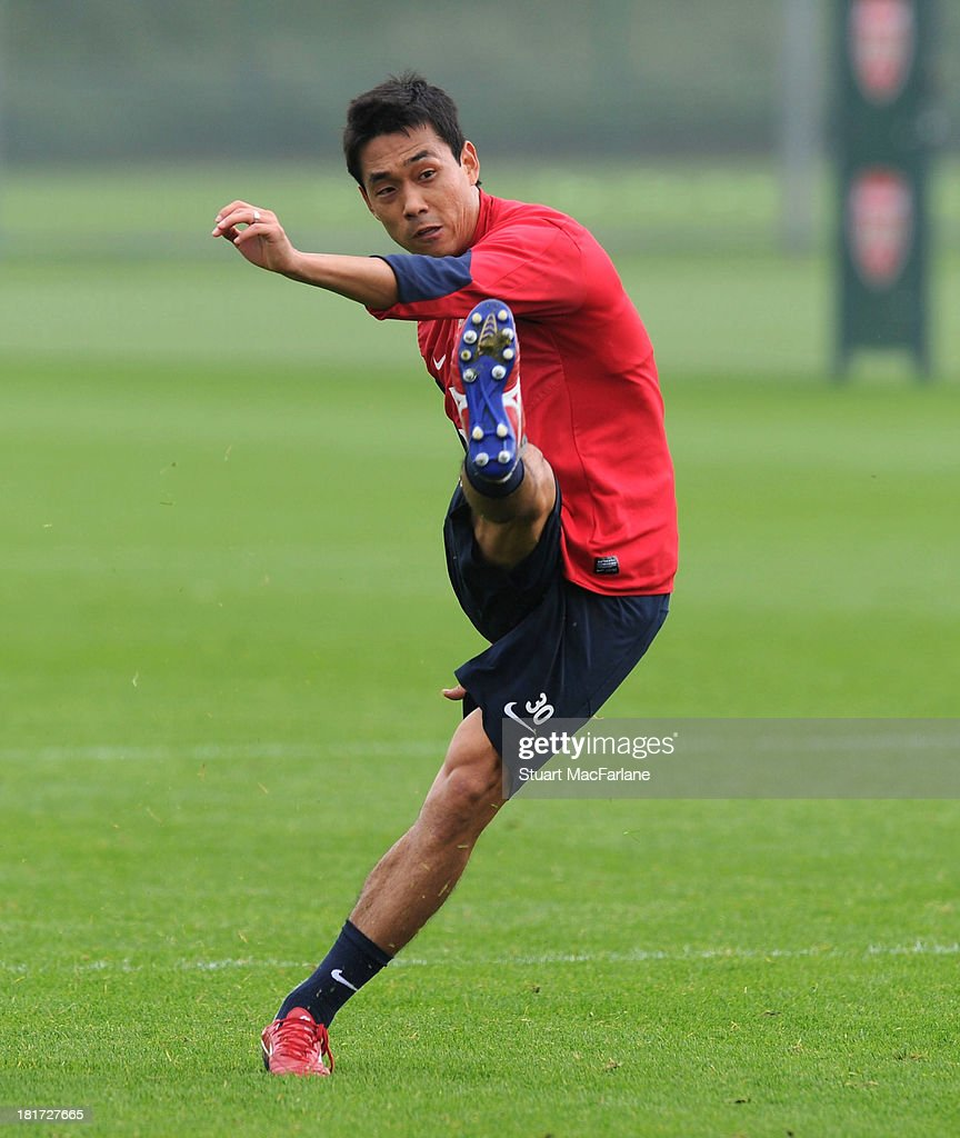 Ju-Young Park of Arsenal during a training session at London Colney on September 24, 2013 in St Albans, England.