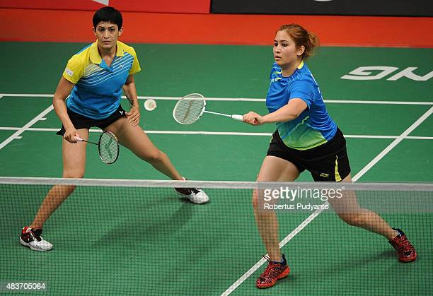 Jwala Gutta and Ashwini Ponnappa of India compete against Hsieh Pei Chen and Wu Ti Jung of Taipei in the 2015 Total BWF World Championship at Istora...
