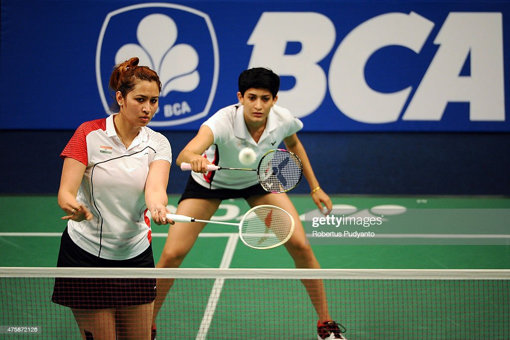 <a gi-track='captionPersonalityLinkClicked' href=/galleries/search?phrase=Jwala+Gutta&family=editorial&specificpeople=795812 ng-click='$event.stopPropagation()'>Jwala Gutta</a> and Ashwini Ponnappa of India return a shot against Yu Yang and Zhong Qianxin of China during the 2015 BCA Indonesia Open Round 2 match on June 4, 2015 in Jakarta, Indonesia.