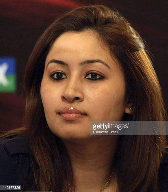 Jwala Gutta attends a press conference on The second edition of the YonexSunrise India Open 2012 OSIM Badminton World Federation's World Superseries...