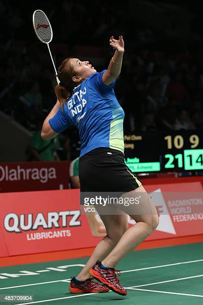 Jwala Gutta of India competes in the second round match of Women's Doubles in the 2015 Total BWF World Championship at Istora Senayan on August 12...