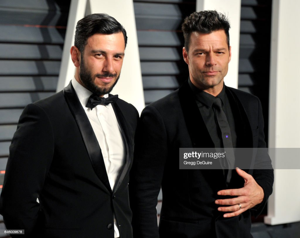 Jwan Yosef and Ricky Martin arrive at the 2017 Vanity Fair Oscar Party Hosted By Graydon Carter at Wallis Annenberg Center for the Performing Arts on February 26, 2017 in Beverly Hills, California.