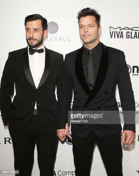 Jwan Yosef and Ricky Martin arrive at the 25th Annual Elton John AIDS Foundation's Oscar viewing party held at The City of West Hollywood Park on...