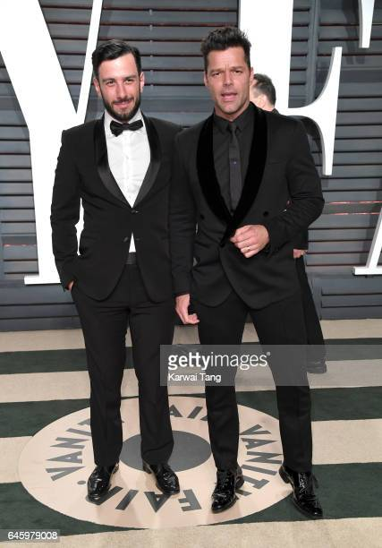Jwan Yosef and Ricky Martin arrive for the Vanity Fair Oscar Party hosted by Graydon Carter at the Wallis Annenberg Center for the Performing Arts on...