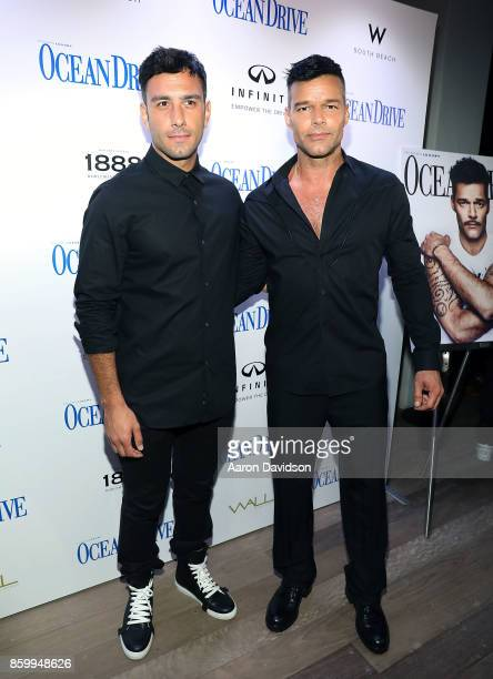 Jwan Yosef and Ricky Martin attend a benefit for hurricane victims in Puerto Rico hosted by Ricky Martin and Ocean Drive Magazine at the magazine's...