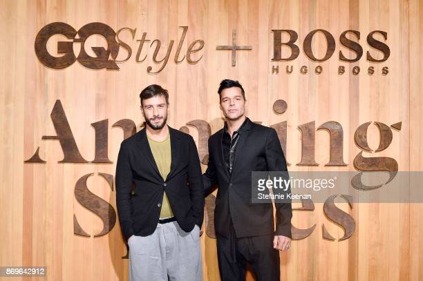 Jwan Yosef and Ricky Martin attend GQ Style Hugo Boss celebrate Amazing Spaces with Edgar Ramirez at John Lautner's Harvey House on November 2 2017...