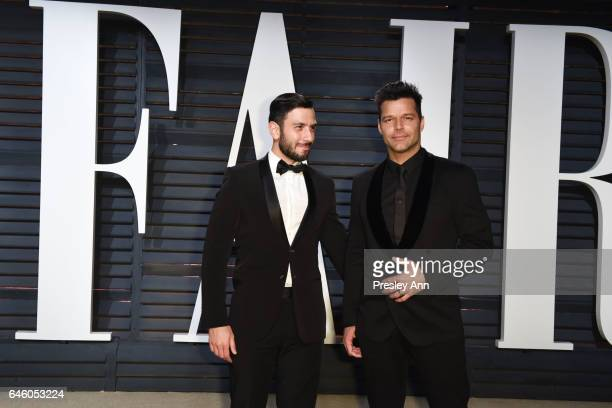 Jwan Yosef and Ricky Martin attend the 2017 Vanity Fair Oscar Party hosted by Graydon Carter at Wallis Annenberg Center for the Performing Arts on...