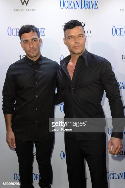 Jwan Yosef and Ricky Martin attend the Ocean Drive Magazine Benefit for Hurricane Victims in Puerto Rico at October Issue Debut at Wall at W South...