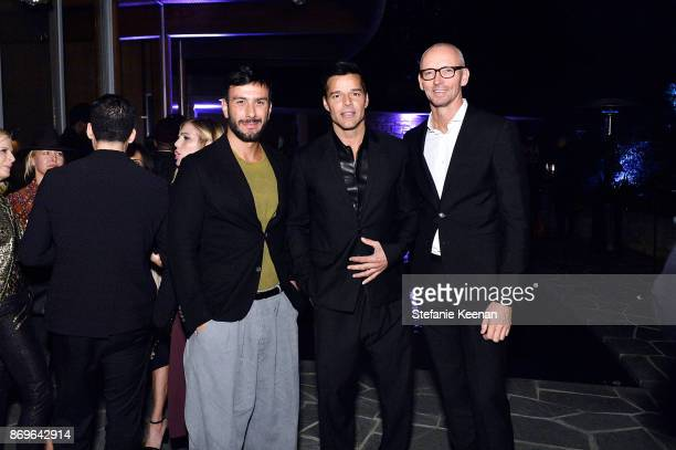 Jwan Yosef Ricky Martin and Ingo Wilts attend GQ Style Hugo Boss celebrate Amazing Spaces with Edgar Ramirez at John Lautner's Harvey House on...