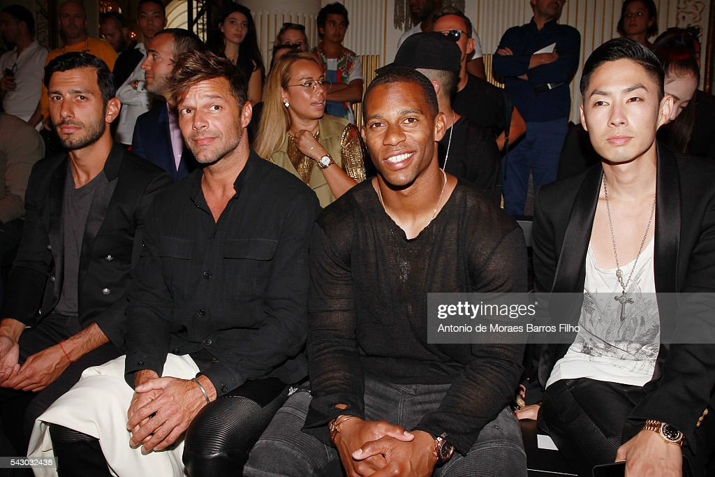 Jwan Yosef, Ricky Martin, Victor Cruz attend the Balmain Menswear Spring/Summer 2017 show as part of Paris Fashion Week on June 25, 2016 in Paris, France.