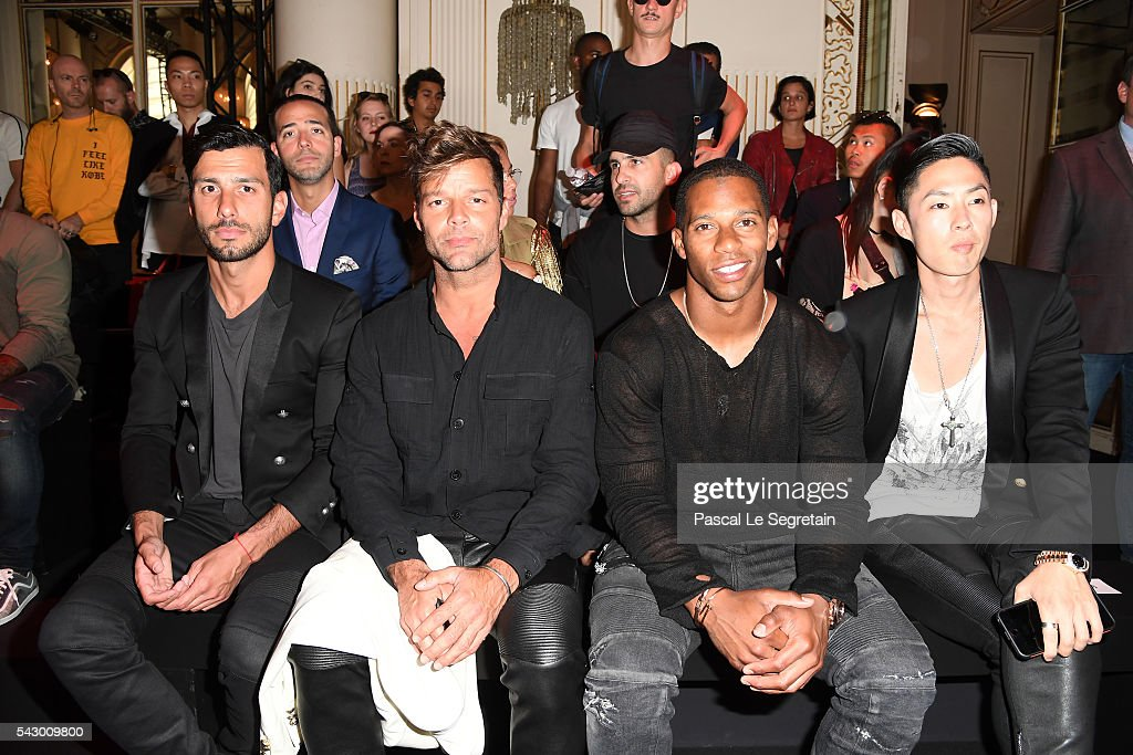 Jwan Yosef, Ricky Martin,Victor Cruz and a guest attend the Balmain Menswear Spring/Summer 2017 show as part of Paris Fashion Week on June 25, 2016 in Paris, France.