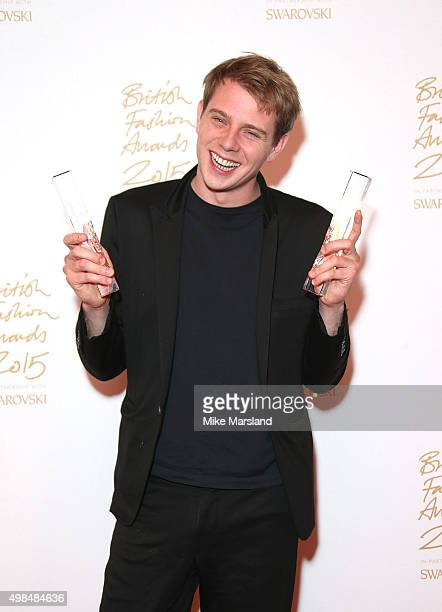 Anderson poses in the Winners Room at the British Fashion Awards 2015 at London Coliseum on November 23 2015 in London England