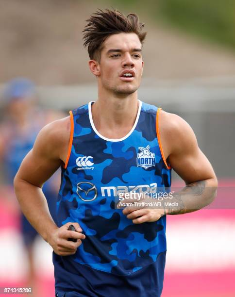 Jy Simpkin of the Kangaroos runs during the North Melbourne Kangaroos training session at Arden St on November 15 2017 in Melbourne Australia