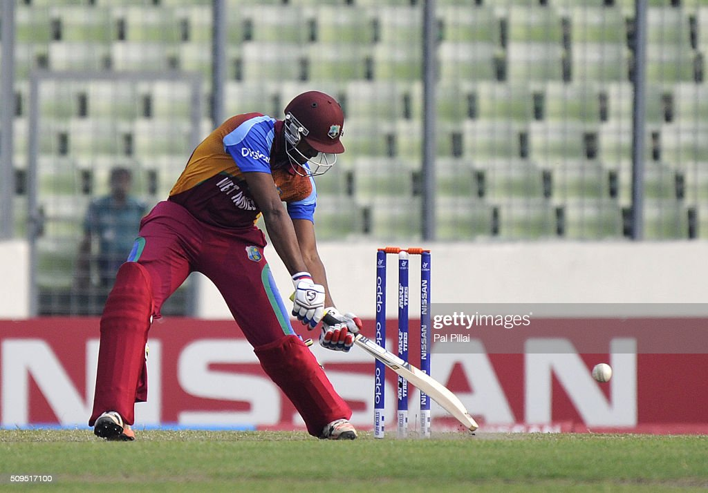 Jyd Goolie of West Indies U19 bats during the ICC U 19 World Cup Semi-Final match between Bangladesh and West Indies on February 11, 2016 in Dhaka, Bangladesh.