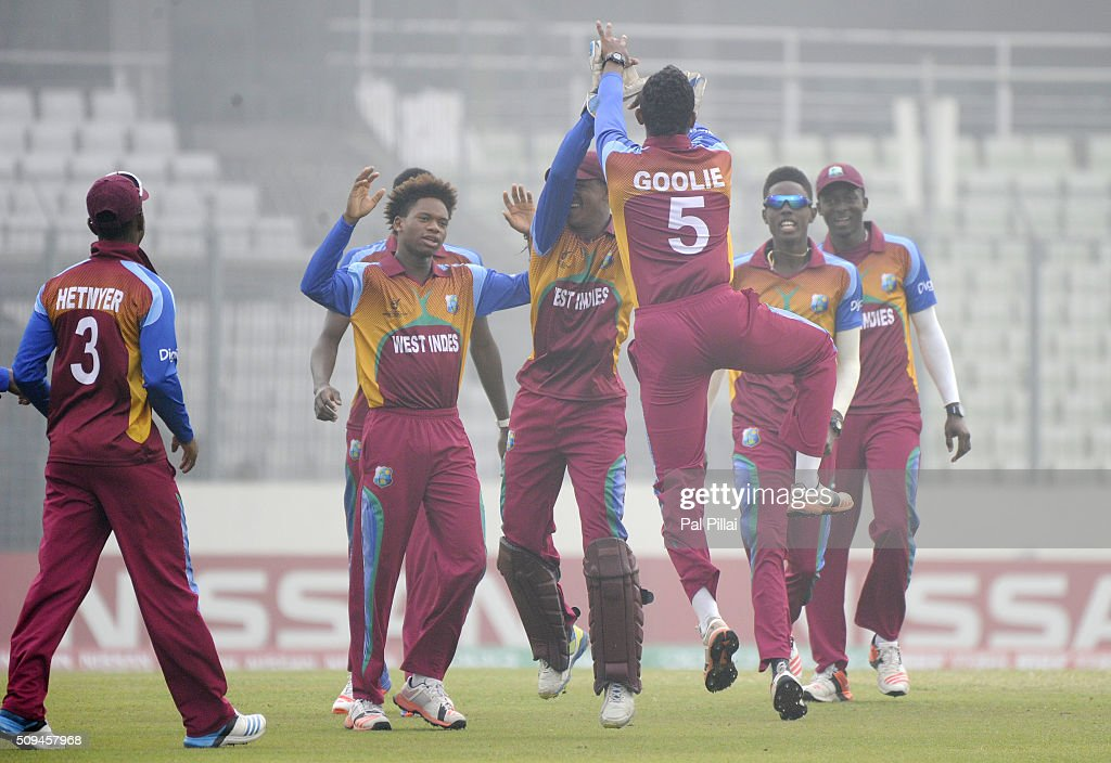 Jyd Goolie of West Indies U19 celebrates after taking a catch to get the wicket of Mohammed Saif Hassan of Bangladesh U19 during the ICC U 19 World Cup Semi-Final match between Bangladesh and West Indies on February 11, 2016 in Dhaka, Bangladesh.