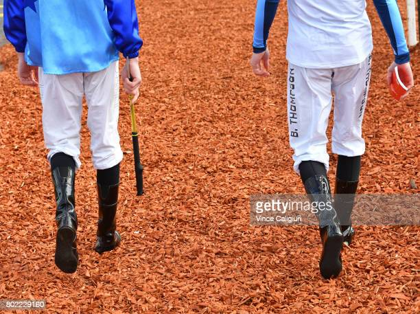 Jye McNeil and Ben Thompson are seen before Melbourne Racing at Sandown Hillside on June 28 2017 in Melbourne Australia