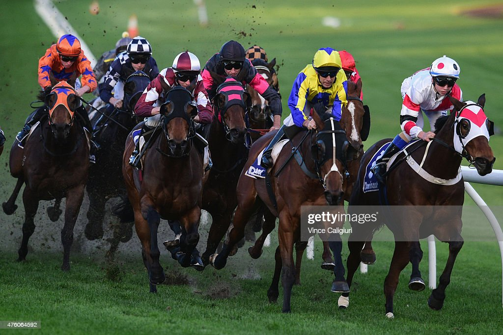 Jye McNeil riding Flash of Doubt (2nd L) winning Race 8 during Melbourne Racing at Moonee Valley Racecourse on June 6, 2015 in Melbourne, Australia.