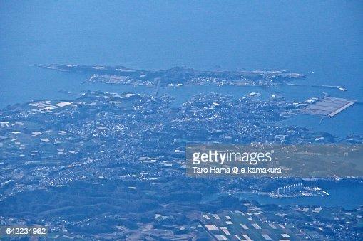 Jyogashima island and Miura peninsula aerial view from airplane
