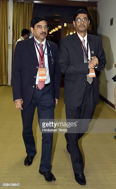 Jyoti Ghosh Managing Director of State Bank of Bikaner Jaipur Santanu Mukherjee Managing Director State Bank of Hyderabad during the Quarterly...