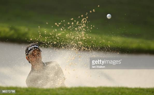 Jyoti Randhawa of India in action during Round One of the Avantha Masters held at The DLF Golf and Country Club on February 11 2010 in New Delhi India