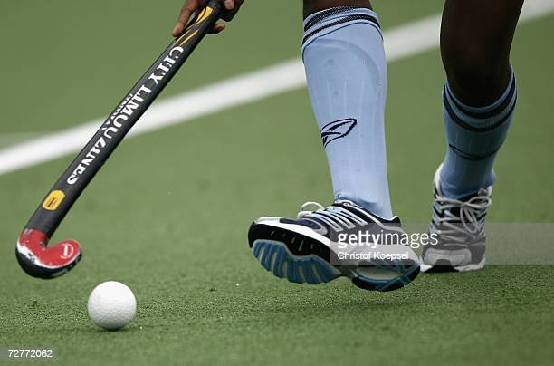 Jyoti Sunita Kullu of India lead the ball by the hockey stick during the Women's Field Hockey Preliminary match between Hong Kong and India at the...