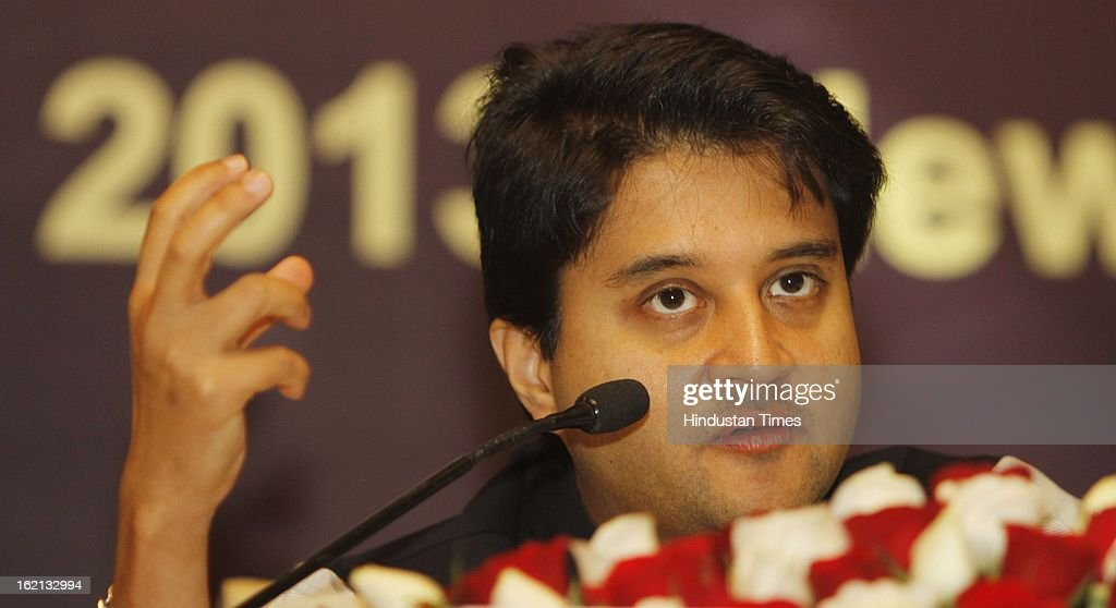 Jyotiraditya M Scindia Minister of State for Power during a Press Conference after meeting of Advisory Group constituted by the Power Ministry to help resolve the issues impacting the sector's growth on February 19, 2013 in New Delhi, India. The Power Ministry would finalise the new bidding norms for power projects after discussions with the developers.