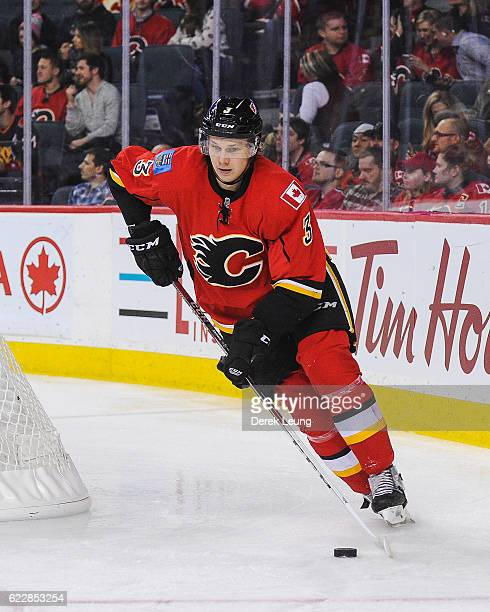 Jyrki Jokipakka of the Calgary Flames in action against the Dallas Stars during an NHL game at Scotiabank Saddledome on November 10 2016 in Calgary...