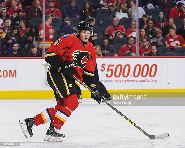 Jyrki Jokipakka of the Calgary Flames in action against the Winnipeg Jets during an NHL game at Scotiabank Saddledome on March 16 2016 in Calgary...