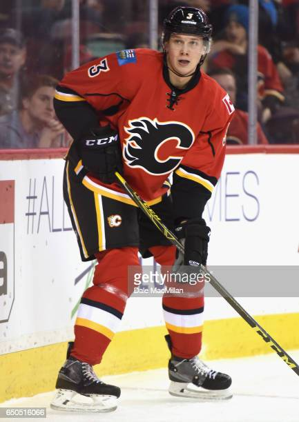 Jyrki Jokipakka of the Calgary Flames plays in the game against the San Jose Sharks at Scotiabank Saddledome on March 7 2016 in Calgary Alberta Canada